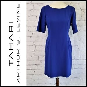 TAHARI ASL Blue Sheath Dress W/Pockets 4P
